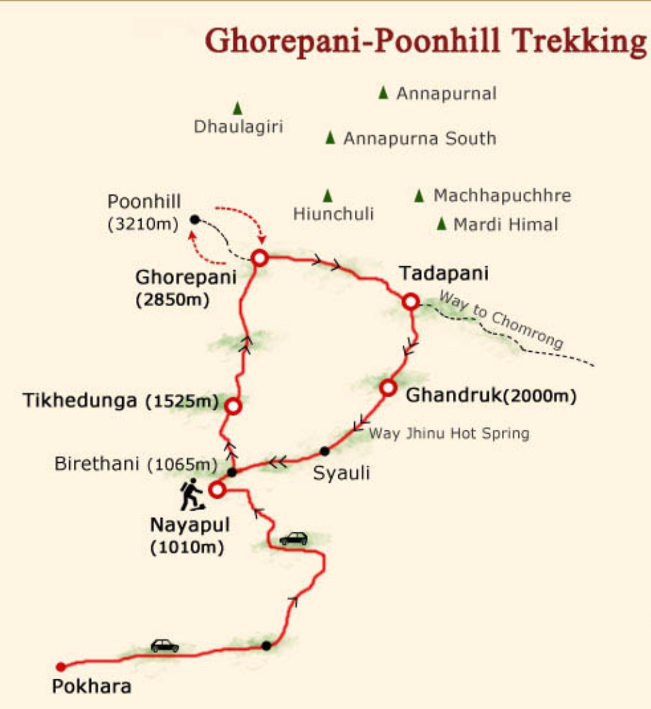 Ghorepani Poonhill Trek $775 Per Person Map