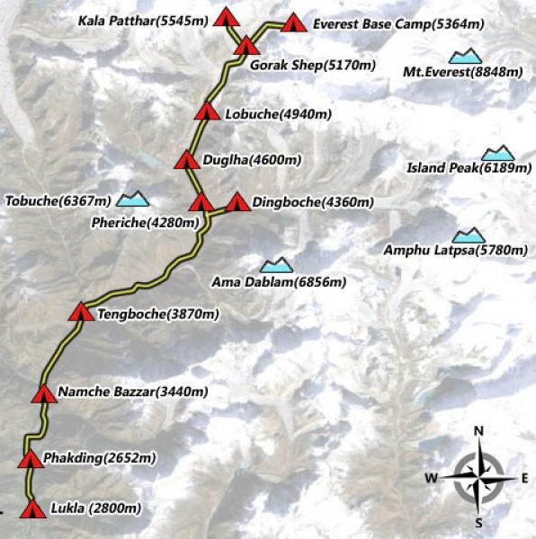 Everest Base Camp Trek (13 Days) $1250 per person Map